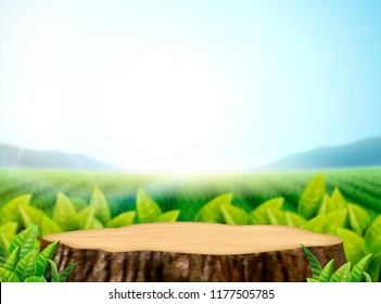 Nature tea garden background with leaves and cut tree trunk in 3d illustration