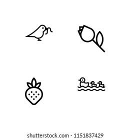 Nature theme. Set outline icon EPS 10 vector format. Professional pixel perfect black & white icons optimized for both large and small resolutions. Transparent background.