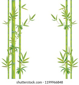 Nature themed background with bamboo stalks illustration.