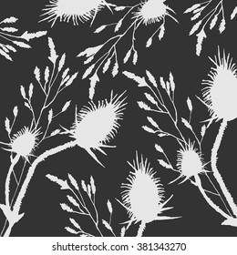 Nature with thistles, thorns and grass isolated on the black background . Sketch vector illustration.