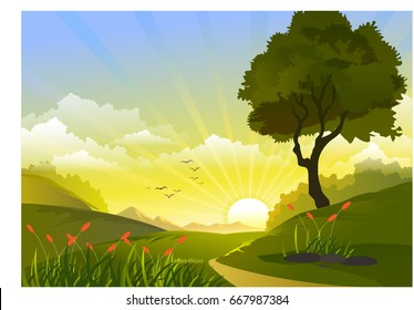 Nature trace and sun rice in vector