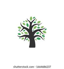 Nature Tree Symbol. Web Icon Logo Template Design Element.