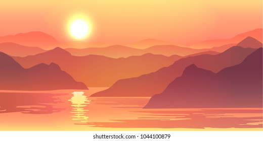 Nature vector background, landscape with mountains and sun. Panorama of mountains, wilderness, sands, valley on sunset or sunrise.