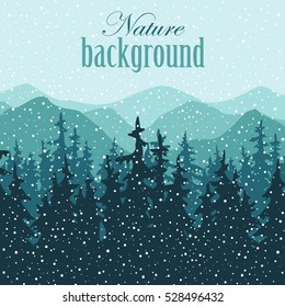 Nature vector background, winter landscape in snowfall with mountains and pine forest. Panorama of mountains, valley with trees.
