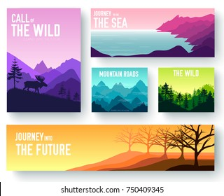 Nature vector brochure cards set. Ecology template of flyer, magazines, poster, book cover, banners. Outdoor invitation concept background. Layout illustration modern page background.