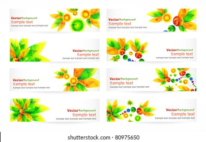 Nature vector headers with green flowers and place for your text