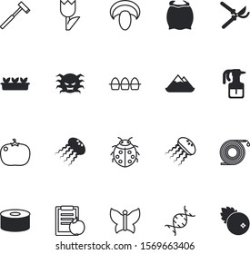 nature vector icon set such as: packaging, web, secateurs, shiitake, baking, eggs, monsters, bug, aqua, microscopic, bacteria, butterfly, biotechnology, tourism, genetic, daffodil, pruning, hose, tin