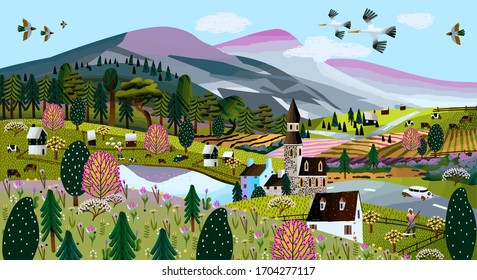 Nature. Vector illustration of a summer and spring landscape, mountains, trees, forest, houses, church, chapel and village. Drawing of a European village and a village for a poster or background