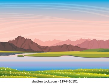 Nature vector landscape. Summer illustration with calm lake, pink mountains, green grass with blooming flowers and sunset sky background.