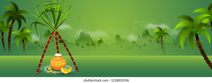 Nature view background with traditional pot and sugarcane on rangoli for religious festival Happy Pongal celebration. Website header or banner design.