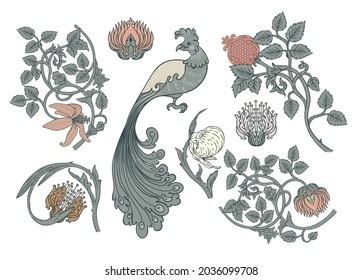 Nature vintage elements. Enchanted Vintage Flowers and bird.  Arts and Crafts movement inspired. Vector design elements. Isolated on white.