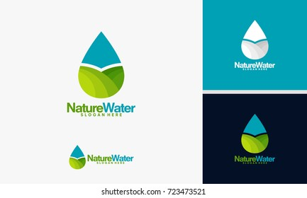 Nature Water logo template, Pure Water logo designs vector