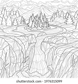 Nature and waterfall.Scenery.Coloring book antistress for children and adults. Illustration isolated on white background.Zen-tangle style. Hand draw