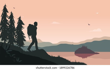 Nature wellbeing - Male person walking with backpack in landscape with lake and forest and background. Stress reduction and walking meditation concept. Vector illustration.