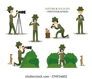 Nature and Wildlife Photography with Camera in Action Set, Techniques
