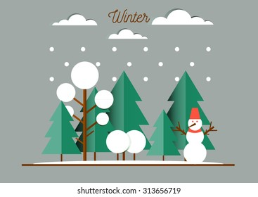 Nature, winter landscape with Christmas trees, snowmen, snow drifts. Happy New Year card