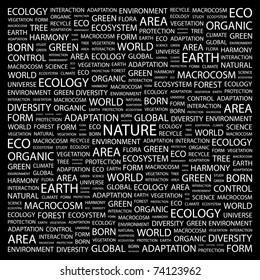 NATURE. Word collage on black background. Vector illustration. Illustration with different association terms.