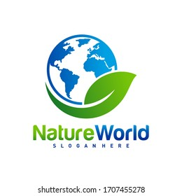 Nature World logo design template vector. Earth with Leaf logo concept.  Planet and eco symbol or icon. Unique global and natural, organic logotype design template.