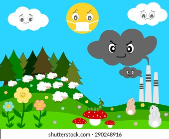 nature worried about factory pollution cartoon vector concept illustration