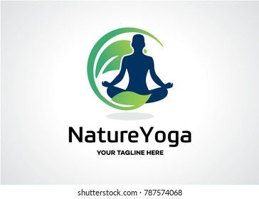 Nature Yoga Logo Template Design Vector, Emblem, Design Concept, Creative Symbol, Icon