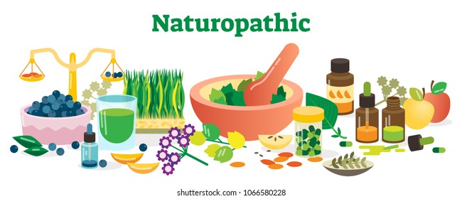 Naturopathic Health Concept Elements Collection Vector Illustration with Herbs and Homeopathic Substances.