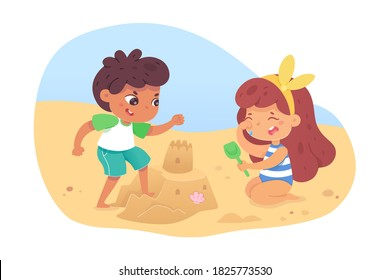 Naughty boy breaks sand castle, little girl crying at beach. Brother teases sister. Good or bad kid behavior scene. Vector character illustration of children conflicts, negative emotions, childhood