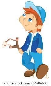 Naughty boy. Cartoon illustration.