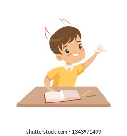 Naughty Boy Ripping Pages of Book and Doing Paper Planes, Bad Child Behavior Vector Illustration