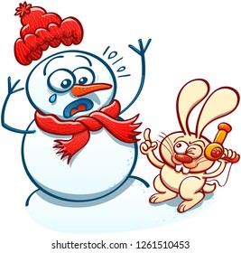 Naughty bunny menacing a snowman with a hair dryer to steal its carrot nose. The scared snowman raises its arms and weeps while the bunny winks and makes a sign with its hand