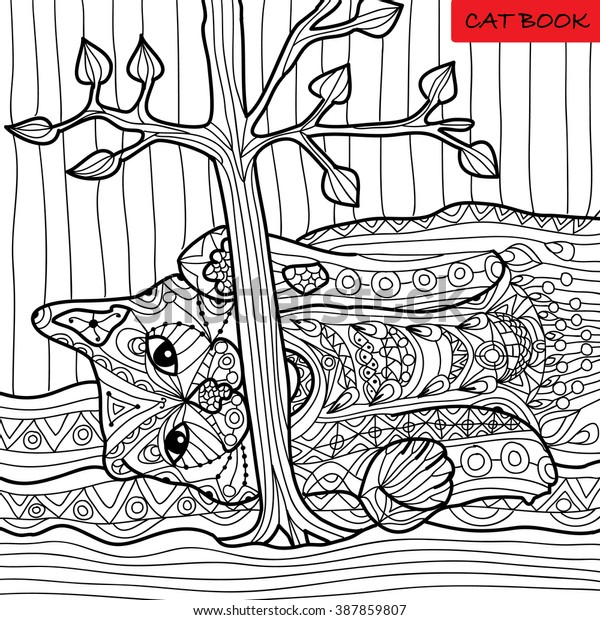 Naughty Cat Coloring Book Adults Zentangle Stock Vector