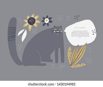 Naughty cat meowing flat hand drawn illustration. Annoying pet with speech bubble for text isolated clipart. Angry and hungry kitten asking for food scandinavian style design element. Vet shop poster