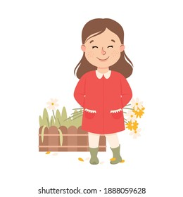 Naughty Child Picking Flowers from Flowerbed Vector Illustration