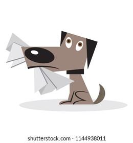 Naughty disobedient dog eating homework