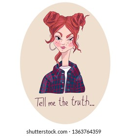 """Naughty girl, redhead with freckles. Vector illustration. """"Tell me the truth."""""""