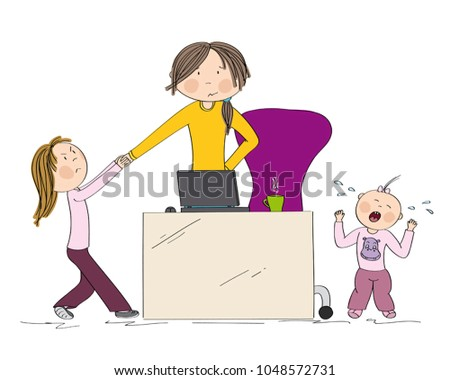 Naughty Kids Sibling Fighting Mothers Attention Stock Vector Awesome Fighting For Attention Images