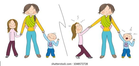 Naughty kids (sibling) vs. good kids. Good behaving children vs. children fighting mother's attention, jealous girl tugging her mother's hand, little toddler boy crying. Hand drawn illustration.