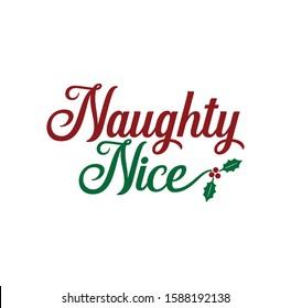 naughty nice greeting test vector christmas theme for print template
