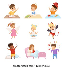 Naughty and Obedient Kids Set, Cute Little Well Bred Kids and Hooligans Vector Illustration