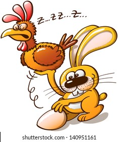 Naughty yellow bunny stealing a beautiful Easter egg by lifting a sleeping hen with one of his arms