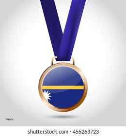 Nauru Flag in Bronze Medal. Vector Illustration. RIO Olympic Game Bronze Medal. Vector Illustration