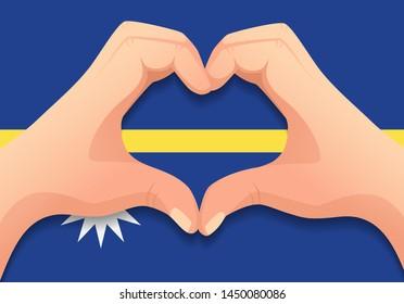 Nauru flag and hand heart shape. Patriotic background. National flag of Nauru vector illustration
