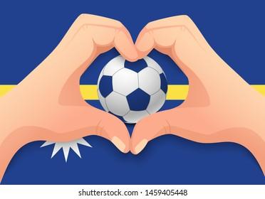 Nauru flag and hand heart shape. National football background. Soccer ball with flag of Nauru vector illustration