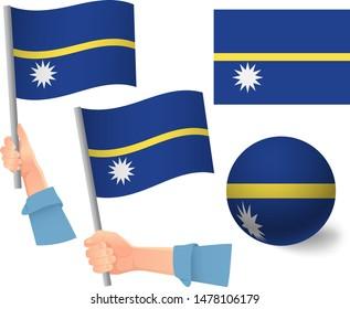 Nauru flag in hand set. Ball flag. National flag of Nauru vector illustration