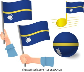 Nauru flag icon set. National flag of Nauru vector illustration