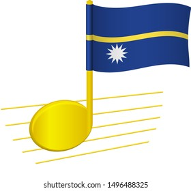 Nauru flag and musical note. Music background. National flag of Nauru and music festival concept vector illustration