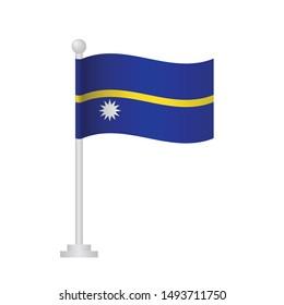 Nauru  flag. National flag of Nauru  on pole vector