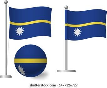 Nauru flag on pole and ball. Metal flagpole. National flag of Nauru vector illustration