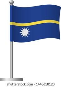 Nauru flag on pole. Metal flagpole. National flag of Nauru vector illustration
