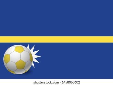 Nauru flag and soccer ball. National football background. Soccer ball with flag of Nauru vector illustration