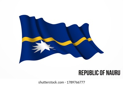 Nauru flag state symbol isolated on background national banner. Greeting card National Independence Day of the Republic of Nauru. Illustration banner with realistic state flag.